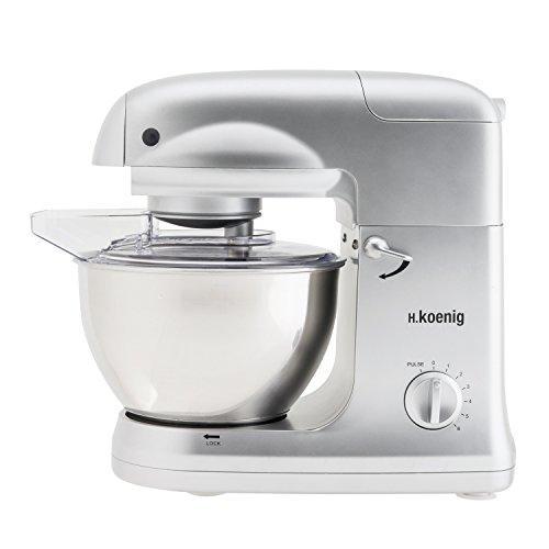 H.Koenig KM 78 KM78-Robot de Cocina multifunción, batidora amasadora, 5 l, 1000 W, Acero Inoxidable