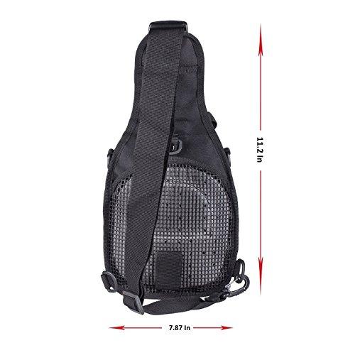 Shuweiuk Tactical Sling-Rucksack Militär Schulter Kasten EDC-Tasche für Outdoor-Sport Camp Wandern, schwarz - 2