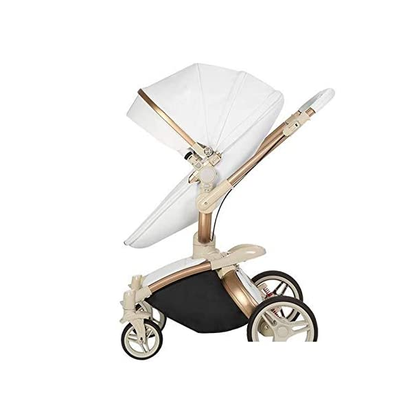 Baby Stroller, High Landscape for Sitting and Reclining Baby Doll Stroller, Shock Absorption and Light Baby Trend Jogging Stroller for Baby Infant Newborn Baby (Color : White) AEQ ●BABY ALIVE STROLLER TWO-WAY IMPLEMENTATION:enhance baby comfort baby stroller fan, check the baby at any time, family is more assured. ●EXQUISITE CRAFTSMANSHIP, STREAMLINED FRAME: for baby stroller adopts bionic principle, combined with physical triangle mechanics, support design, frame is stable and durable, easy to collect, smooth cart, tube width is over 5cm, less punching, baby pram stroller is more integrated Forming is stable. ●ENJOY THE SUN WITHOUT SUNBURN: Baby strollers are made of natural natural fabric and bottom PT film. They have excellent rebound and stretchability, and they can maintain a smooth and beautiful appearance after many times of folding. With authoritative certification, it can isolate more than 95% of ultraviolet rays, meet the travel needs of the baby in different time periods, and resist the sun glare. Baby stroller toy protects the baby's delicate skin. 2