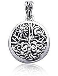 Abra la plata esterlina, Árbol de la vida Celta colgante de Sun