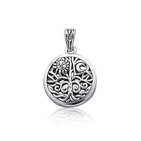 Open Celtic Tree of Life Sun Sterling Silver Pendant