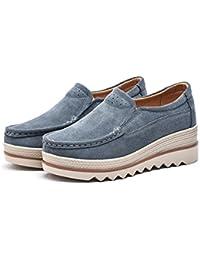 Hishoes Mocasines Mujer Plataforma de Cuero Gamuza Mocasines Moda Loafers Zapatos Para Caminar con Tacón Cuña