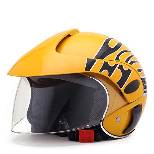 JIE KE Kinderhelm Elektro Fahrrad Fahrrad Cartoon Vier Jahreszeiten Junge Mädchen Einstellbare Größe Half Helm (Farbe : Gelb)