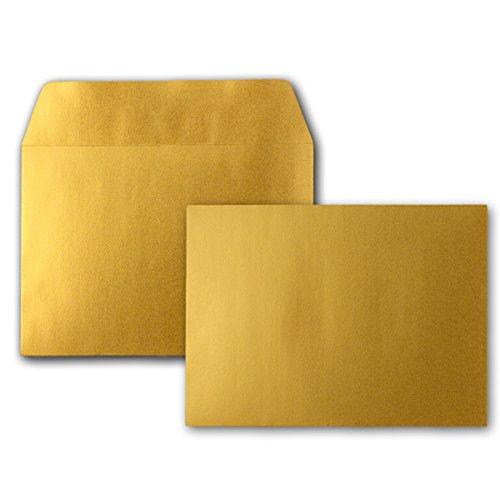 Metallic Briefumschläge in Gold | 25 Stück | metallisch-glänzende Kuverts in DIN C6 Format 114 x 162 mm | Haftklebung | Post-Umschläge ohne Fenster | ideal für Weihnachten, Grußkarten und Einladungen - Für A4, A5, A6 Papier und Karten | Serie FarbenFroh