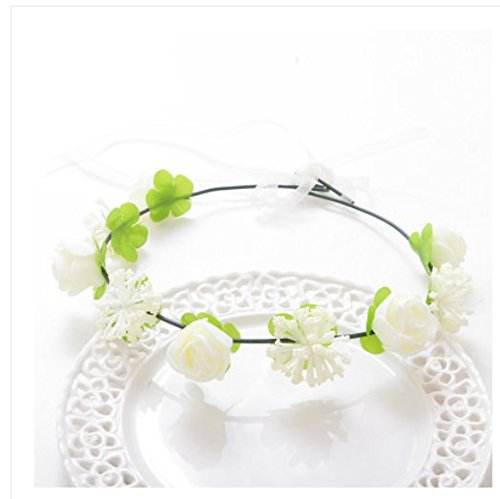 5wreaths Vine Wreath Coiffe Fleur Hair Band Bridal Hair Accessoires Photos de vacances Coréen Enfants Flower Headband ( couleur : Rose )