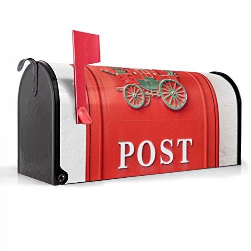 BANJADO US Mailbox | Amerikanischer Briefkasten 51x22x17cm | Letterbox Stahl schwarz | mit Motiv Postkasten Nostalgie, Briefkasten:ohne Standfuß