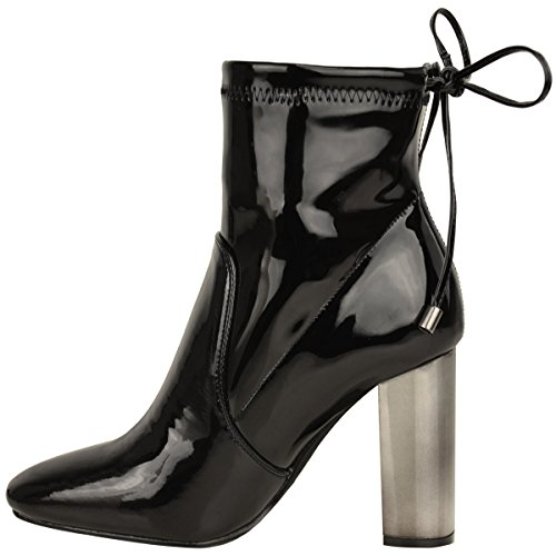 Neu Damen Blockabsatz Chelsea Stiefeletten Stretch Spitze Gebunden Größe Schwarz Lackleder