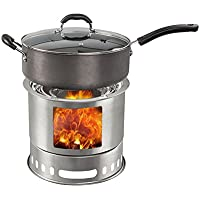 Alexsix 4 en 1 Multifunción Pot Camp Stove Combo Woodburning Backpacking Estufa Ideal para Acampar Supervivencia