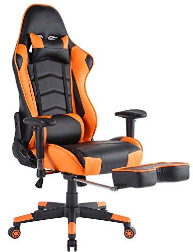Top Gamer- Silla para ordenador con reposapies, altura ajustable, cuero sintético, Naranja