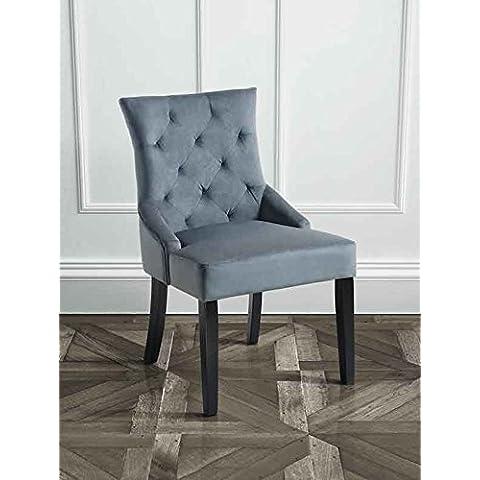 MY-Furniture – TORINO - Silla de comedor tapizada de alta calidad, con respaldo reclinado de color gris humo y patas