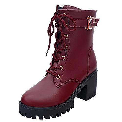 Xinantime_ Women Shoes , Bottines Richelieu Femme - Noir - Red, 36.5 EU par  Xinantime_ Women Shoes