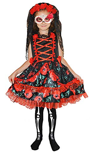 Forever young kids girls day of the dead scheletro zombie bride fancy dress costume halloween 4-6 anni