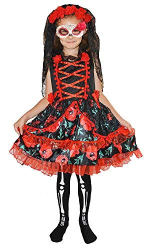 Für Immer Junge Kinder Mädchen Tag der Toten Skeleton Zombie Braut Kostüm Halloween 10-12 (Zucker Schädel Maske Kostüm)