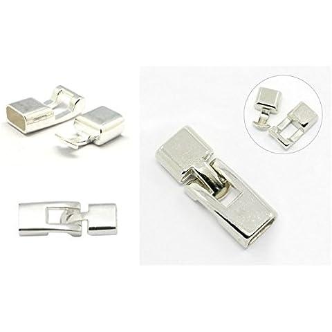Angel Malone 3x Nuovo (Argento Brillante Ovale Interno 11mm), colla in chiusura a scatto Chiusura, leather-kumihimo Crafts, di alta qualità, - Braccialetto Taglie