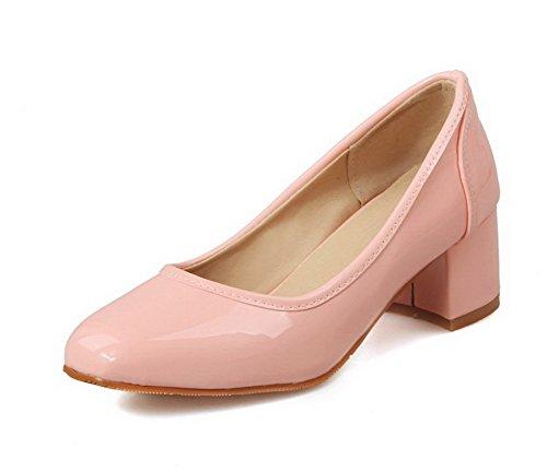 VogueZone009 Donna Tacco Medio Pelle Di Maiale Puro Tirare Punta Quedrata  Ballet-Flats Rosa