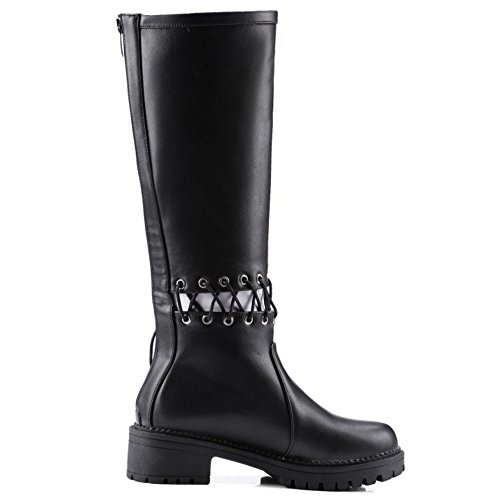 COOLCEPT Damen Mode-Event Flach Schnürung Stiefeletten Reißverschluss Hohen Absätzen über kniehohe Stiefel Schwarz