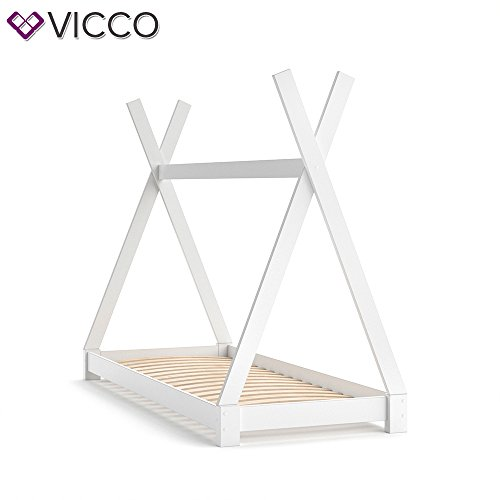 Vicco Kinderbett TIPI Kinderhaus Indianer Zelt Bett Kinder Holz Haus Schlafen Spielbett Hausbett 80x160 (Weiß) - 2