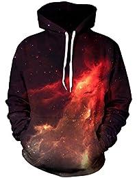Sanrense con capucha de la galaxia de Los hombres HD coloridos 3D imprimieron el suéter Unisex de la manga larga Sudaderas con capucha divertidas de Navidad para los adolescentes Puentes