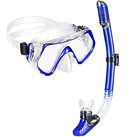 Scuba Snorkel Set, OMorc Premium Adult Scuba Diving Snorkeling Free Diving Mask With 180 Degree Vision, 100% Waterproof Tempered Glass Lenses, Food-Grade Silicone Skirt And Mouthpiece For Men And Women - Blue