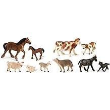 Miniland - Bote con animales de granja con bebés, 10 figuras (27430)