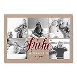 Weihnachtskarten 'Frohes Fest' in Rot | Personalisierte Karten zu Weihnachten zum selbst gestalten | 25 Stück Grußkarten für Familie mit Kinder oder Geschäftlich