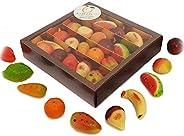 """Frutti di """"pasta reale"""" (martorana o marzapane siciliano) in splendida confezione regalo (gr.250). R"""