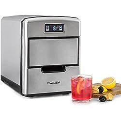 Klarstein Metropolitan • machine à glace • machine à glaçons • 12kg/24h • 180W • 3 tailles de glaçons • frigorigène R600a • réservoir d'eau de 2,15l • pelle • inox • argent