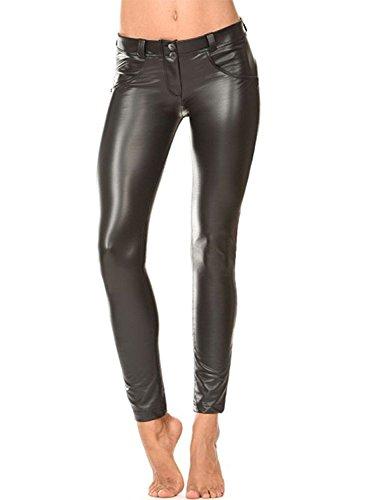 ZEARO Elegant Damen Skinny Legging Stretch PU Leder Look Optik Leggings