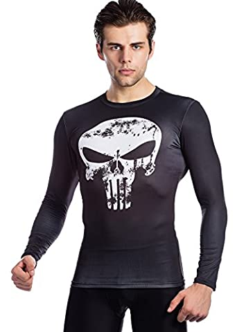 Cody Lundin® Men's Marvel Comics Movie Theme Hero Ant-Man, Frank Castle Digital Printing Exercise Fitness and Compression Tights Shirt Long Sleeve Sports T-shirt (XL, Frank
