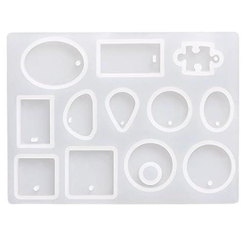 Eboot 12formes Moule à pendentif Bijoux cabochon Moule en silicone Moule à suspendre avec trou pour DIY loisirs créatifs, semi-transparent