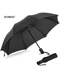 SINMENG Regenschirm | Taschenschirm | sturmfest bis 140 km/h | klein stabil automatik Reise Schirm | Umbrella windfest schwarz