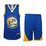 Creing Basketball Trikot Set Replik FüR Kind Erwachsener Jersey Basketball Uniform Sportbekleidung Atmungsaktiv Bekleidung Team Sport T-Shirt Basketball Anzug,Blue-Kevin,M