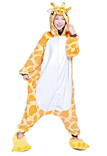 Keral Unisex Pyjama Tierkostüme Schlafanzug Tier Onesize mit Kapuze Erwachsene Overall Kostüm festival tauglich Ente Giraffe Größe M