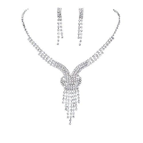 Yazilind glänzender klar Kristall Versilbert Brautschmuck Sets Y-Form Halskette und Ohrringe (Mode Ohrring Und Halskette Set)