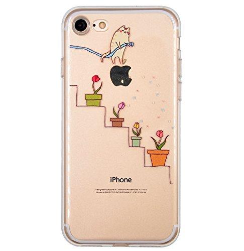 Cover iPhone 7, Cover iPhone 8, OFFLY Morbida Silicone Trasparénte Sottile (TPU) Protettiva Custodia, Creativo Stampa Protezione Cover Case per Apple iPhone 7 / 8 - Foglie Tropicali Gattino