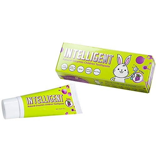 INTELLIGENT Saliva Enzymes Baby/Kids/Children Toothpaste No Fluoride - Swallow Safe -Edible - Remove Dark Spots, Plaque, Stains, Tartar Teeth - Baby/Kids Natural Edible Toothpaste (Grape Flavour 40g)