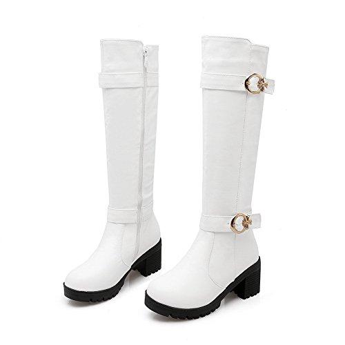 VogueZone009 Damen Reißverschluss Hoch-Spitze Mittler Absatz Rein Stiefel mit Metallisch Weiß