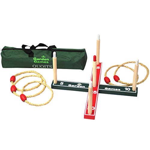 Image of GARDEN/OUTDOOR ROPE QUOITS & WOODEN PEGS THROWING GAME