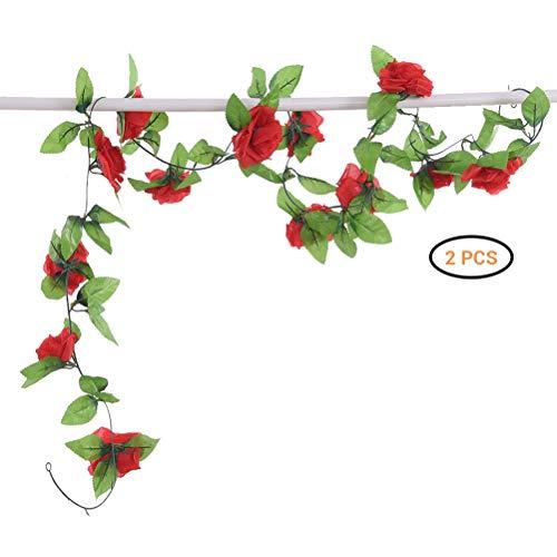 Comtervi 2 Stück Künstliche Blume Kunstseide Rose Blumenrebe Girlande Simulation Hängende Dekoration Blumen und Blätter Dekor Zuhause Hochzeit Party Garten Faux Vine Rattan -
