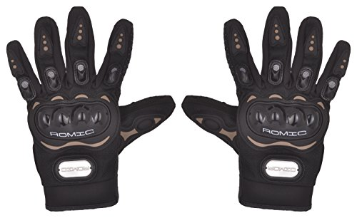 Romic Leather Motorcycle Full Gloves (Black, Large)