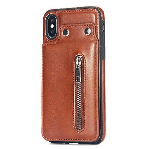 MEISHAON Handyhülle Reißverschluss -Leder -Kästen für iPhone X XS Max XR 8 7 Plus -Leder -Telefon -Kasten -Kartenhalter -Mappen -Abdeckung für iPhone 8 7 6 6s und Fall - Telefon-abdeckung Kartenhalter