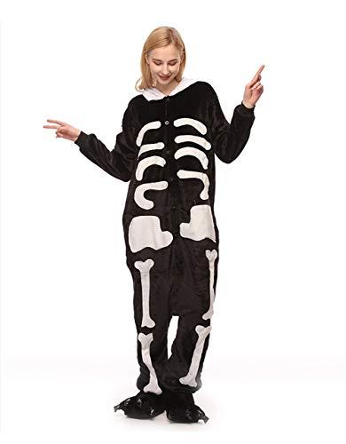 (HLDUYIN Pyjamas Für Erwachsene Plüsch Onesies Cosplay Tierkostüm Skelett,M)