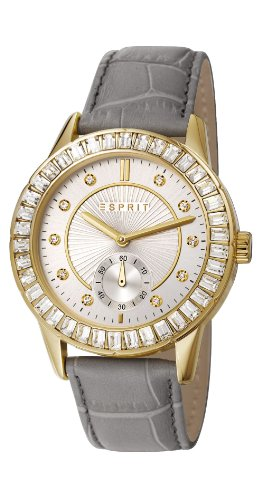 Esprit Seren Women's Quartz Watch with Silver Dial Analogue Display and Grey Leather Strap ES107422006