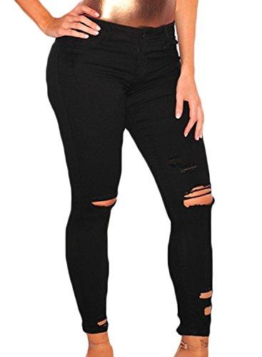 Dearlove, jeans attillati autunnali da donna, con rose ricamate e lavaggio con striature, skinny, jeggings, elasticizzati black (42-44)m