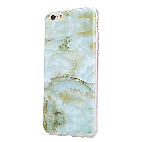 """Coque iPhone 6 Plus, Étui iPhone 6S Plus, ISAKEN Coque pour Apple iPhone 6 Plus(5.5"""") - Étui Housse Téléphone Étui Pente TPU Silicone Ultra Mince Gel Arrière Case Antichoc Doux Durable Résistant Aux R marbre: vert"""