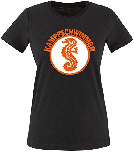 Luckja Kampfschwimmer Damen Rundhals T-Shirt Schwarz/Bunt