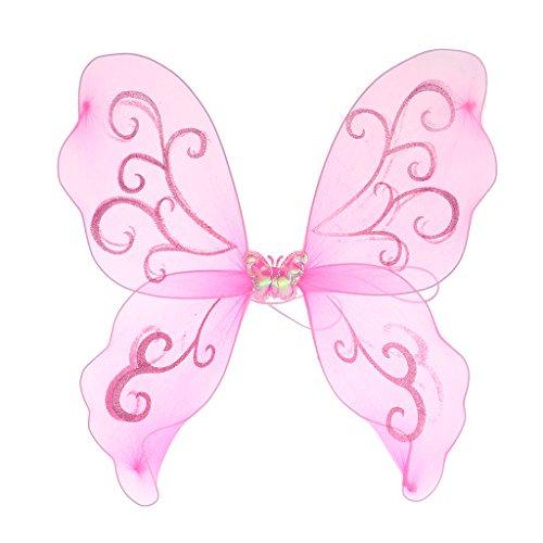 (Homyl Mädchen Feenflügel Schmetterlingsflügel Elfenflügel Engelflügel Kostüm Accessoires zum Kindergeburtstag Themenparty und Fasching - Rosa)