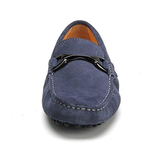 Shenduo - Mocassins pour homme cuir - Loafers confort - Chaussures de ville D7162 Gris