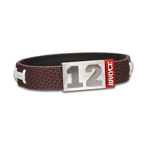 BRAYCE® American Football-Armband mit Deiner Nummer 00-99 (Trikotnummer, Spielernummer, Glückszahl): Der Schmuck im Football Style für Damen und Herren (Fanartikel)