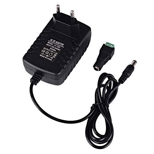 Preisvergleich Produktbild Arote LED Trafo DC 12V 2A 24W Netzteil Netzadapter Adapter Power Supply Transformator Treiber mit Kaltgerätestecker Stromversorgung für 5050 3528 5630 SMD LED Streifen Strip Stripe RGB Leiste